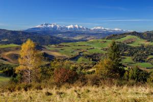 Výhľad z vrchu Šlachovky (Wysoki Wierch) na Tatry