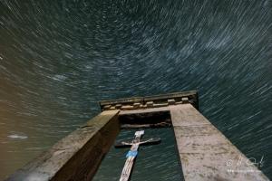 Startrail nad  Šibenicou pod Spišským hradom