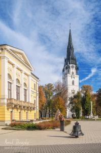 Radnica a veľký kostol v jeseni