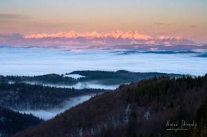 Tatry z Vysokého vrchu (z Poráča)